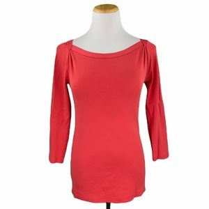 J. Crew Red Perfect Fit 3/4 Sleeve Boat Neck Tee